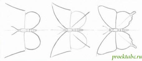 рисуем просто бабочку карандашом