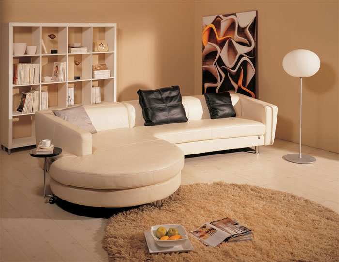 Кожаная мебель пастельных тонов