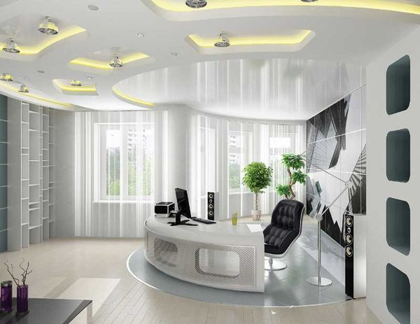 Дизайн кабинета в белых тонах