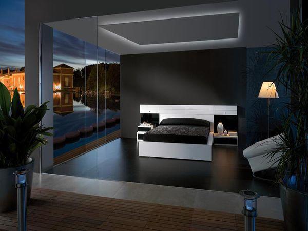 Дизайн спальни в черных тонах