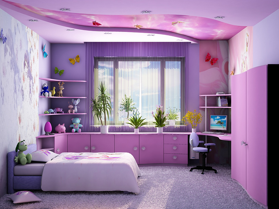 Дизайн интерьера детской комнаты для девочки в фиолетовых цветах