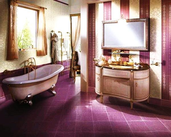 Дизайн интерьера ванной комнаты в фиолетовых цветах