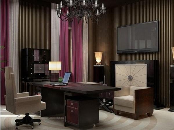 Дизайн интерьера кабинета в фиолетовых цветах
