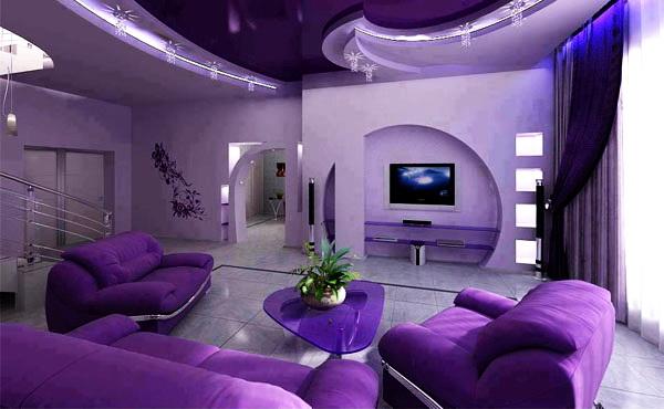Дизайн интерьера жилой комнаты в фиолетовых цветах
