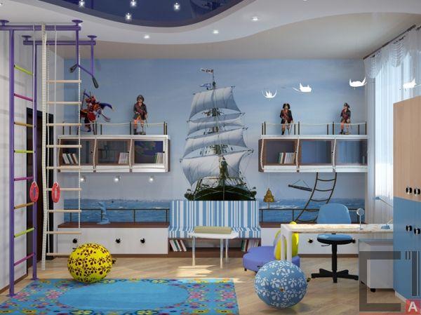 Дизайн интерьера детской комнаты для мальчиков в голубых тонах