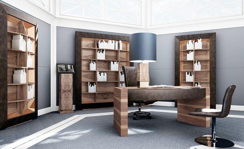 Дизайн интерьера кабинета в голубых тонах