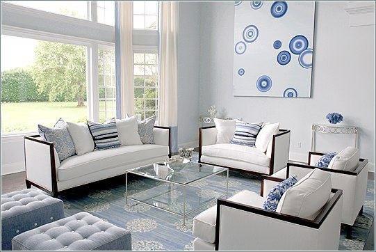 Дизайн интерьера гостиной в голубых тонах