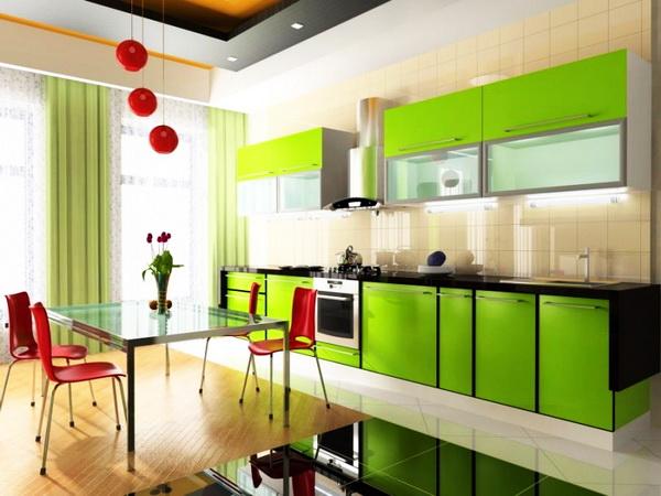 Дизайн интерьера кухни в зеленых тонах