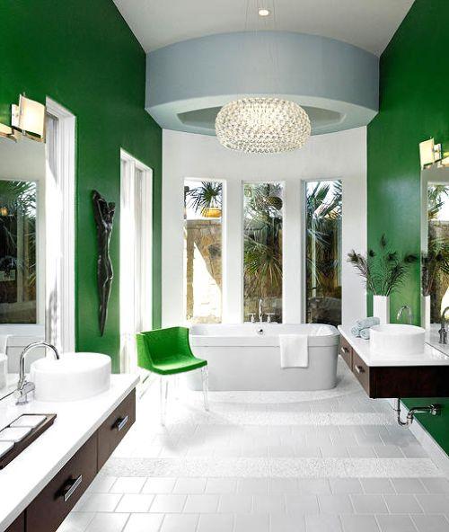 Дизайн интерьера ванной комнаты в зеленых тонах