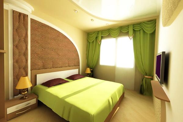 Дизайн интерьера спальни в зеленых тонах