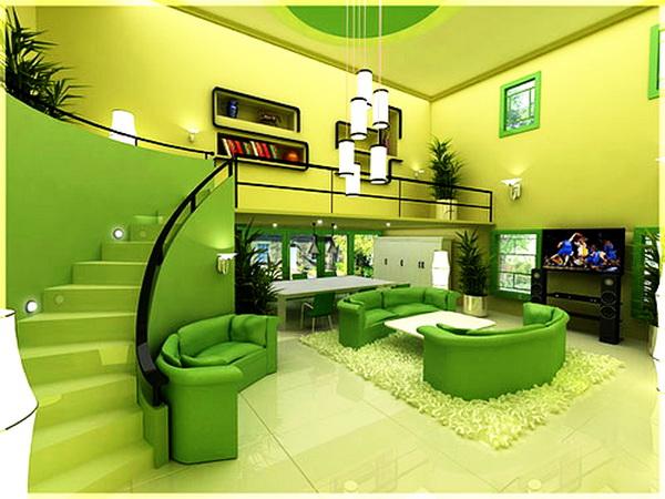 Дизайн интерьера гостиной в зеленых тонах