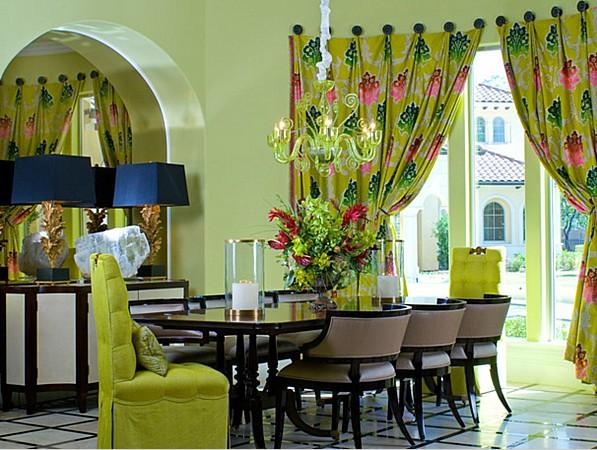 Дизайн интерьера столовой в зеленых тонах