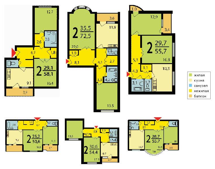 Серия дома и 155 планировка балкона.
