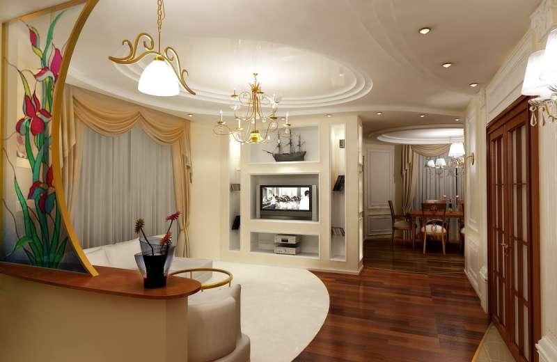 Интерьер жилой комнаты в стиле модерн