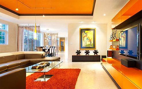 Дизайн интерьера гостиной в оранжевых цветах