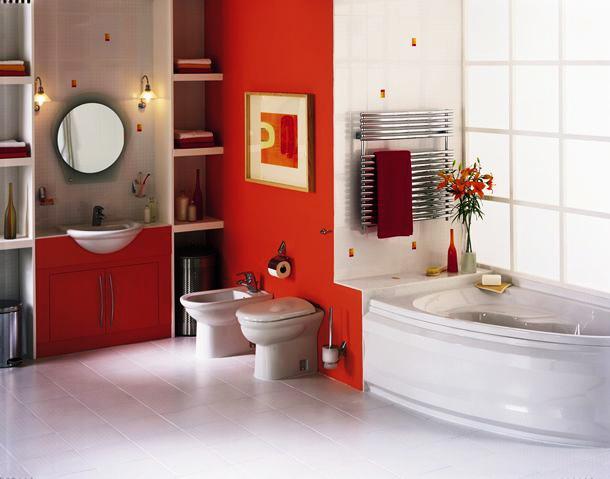 Дизайн ванной комнаты в оранжевых цветах