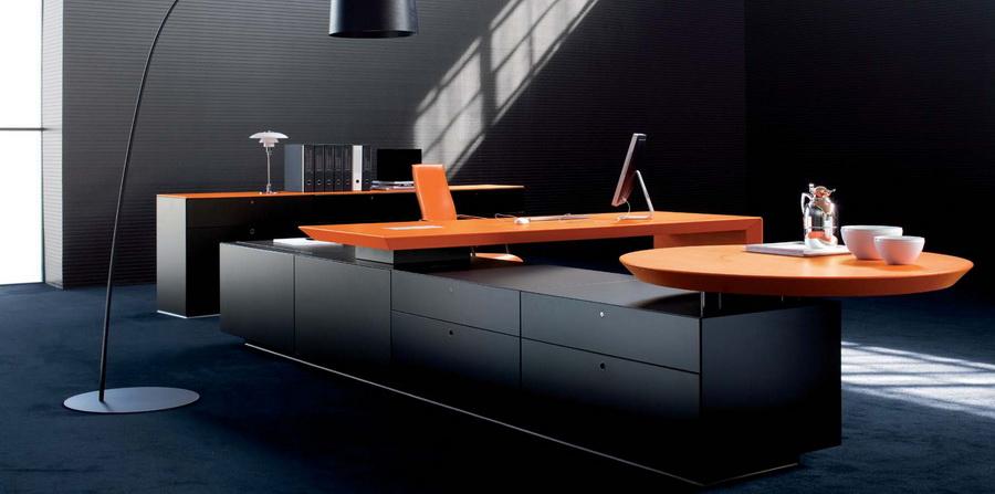 Дизайн кабинета с применением элементов оранжевого цвета