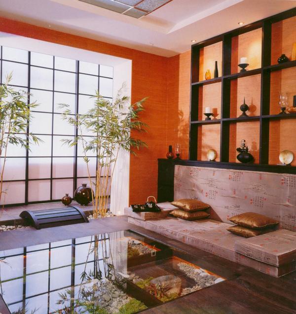 Дизайн гостиной восточного стиля в оранжевых тонах