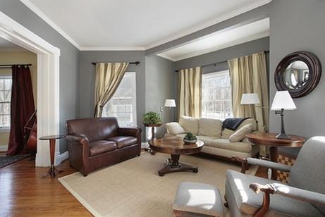 Дизайн интерьера гостиной в серых тонах