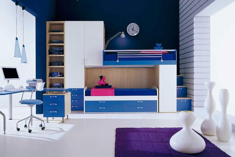 Дизайн детской комнаты в синих тонах