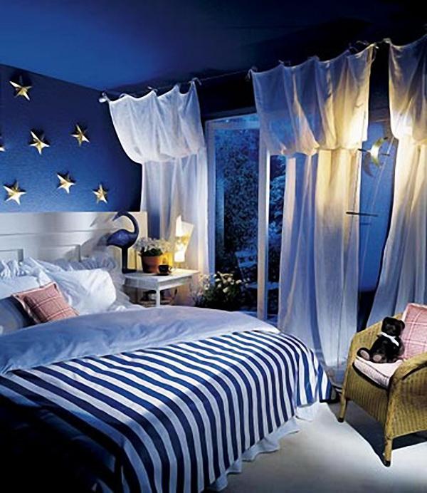 Ддизайн спальни в синих тонах