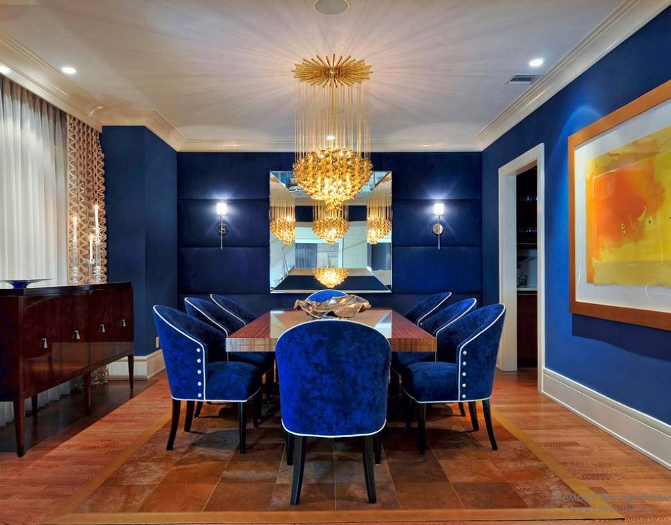 Дизайн столовой в синих тонах