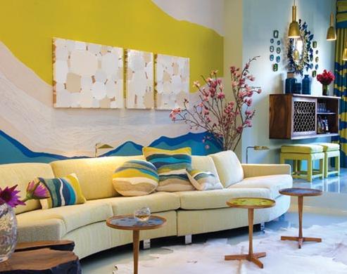 Дизайн интерьера гостиной в желтых тонах