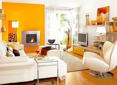 Дизайн жилой комнаты в желтых тонах