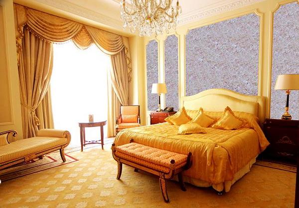Дизайн спальни с применением жидких обоев