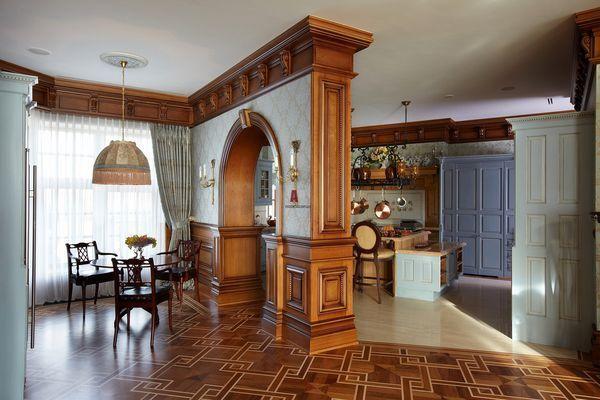 Интерьер кухни и столовой в английском стиле