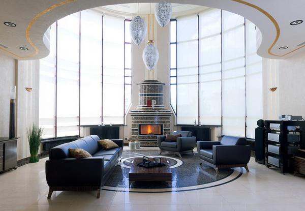 Дизайн гостиной с еркером