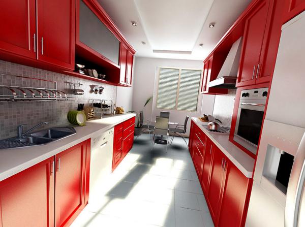 дизайн интерьер узкой кухни