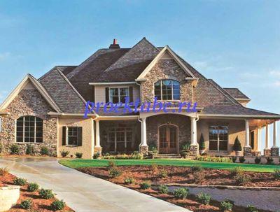 фасад дома - каменная облицовка