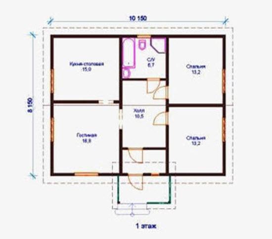 Деревянный дом 8 на 8,5 проект, цена, фото.