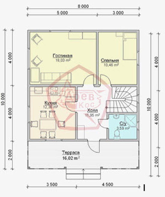 Projekt hiše 10 do 10 s podstrešjem
