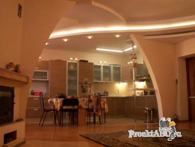 дизайн гостиных, совмещенных с кухней