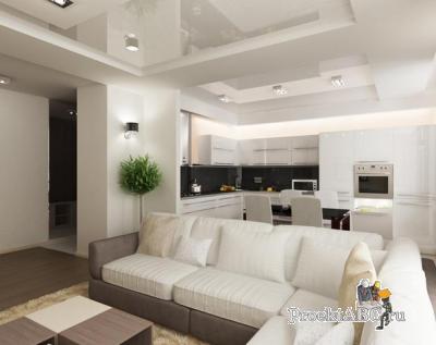 интерьер гостиных, совмещенных с кухней