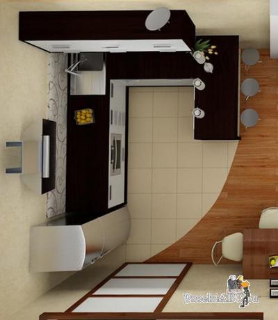 оформление гостиных, совмещенных с кухней