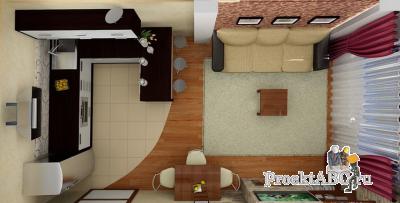 дизайн гостиных, совмещенных с кухней своими руками