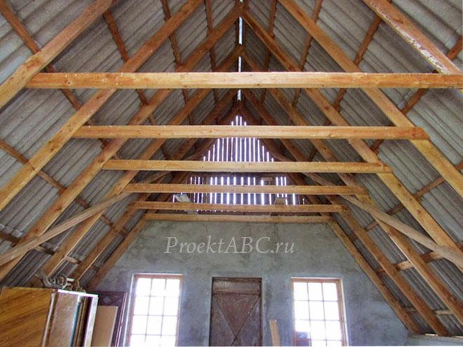 двускатная крыша, висячие стропила