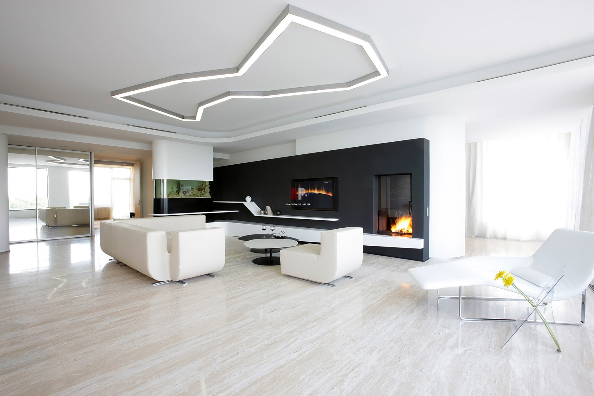 Интерьер жилой комнаты в стиле минимализм