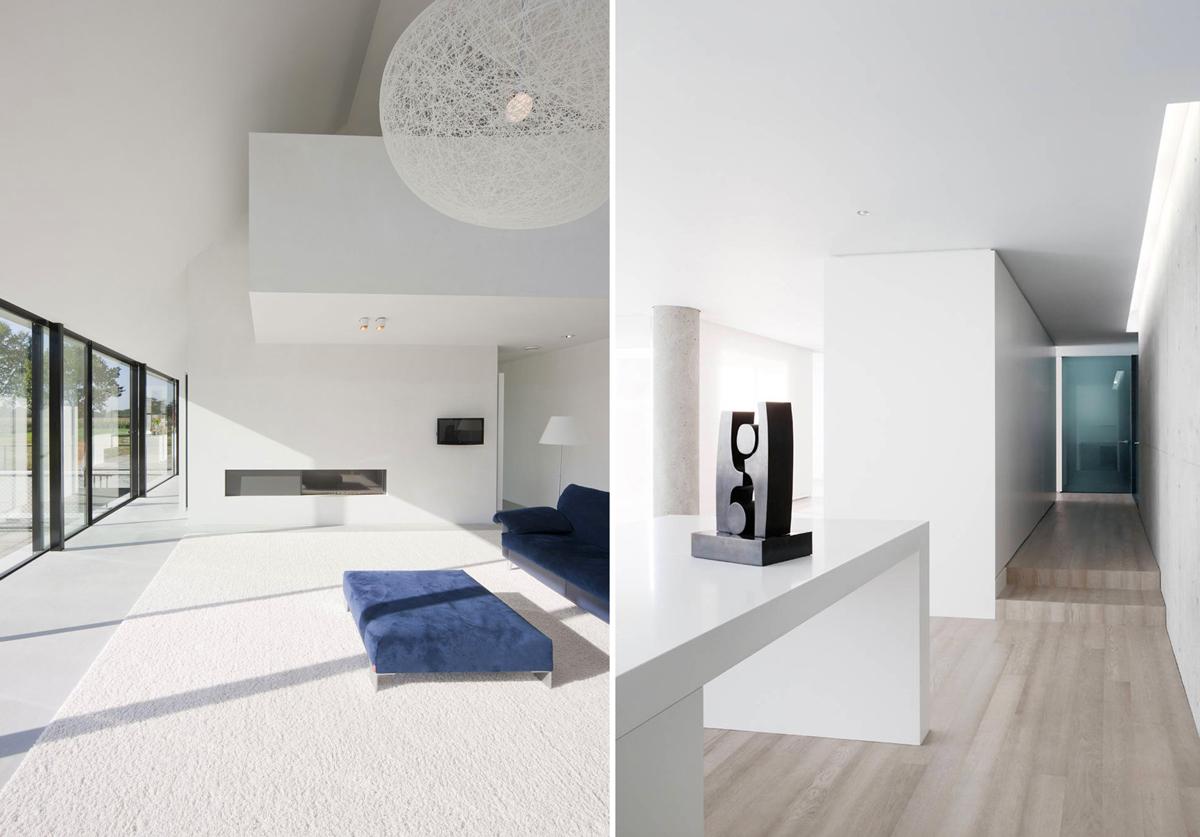 Интерьер гостиной и прихожей в стиле минимализм