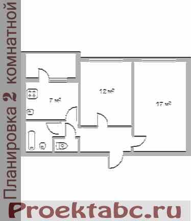 планировка двухкомнатной квартиры МС серии