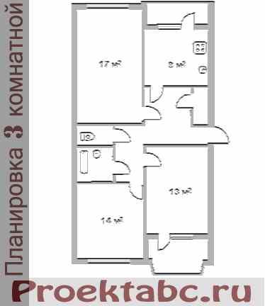 планировка трехкомнатной квартиры МС серии