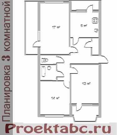 МС серия - планировка трехкомнатной квартиры