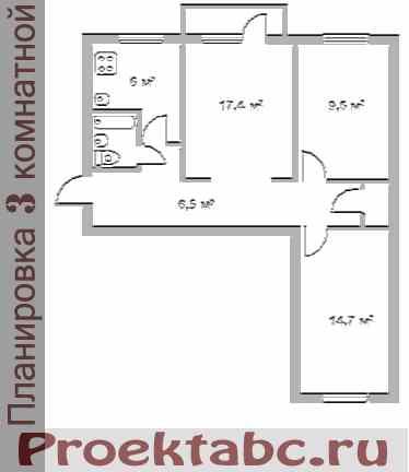 планировка трехкомнатной квартиры - хрущевки