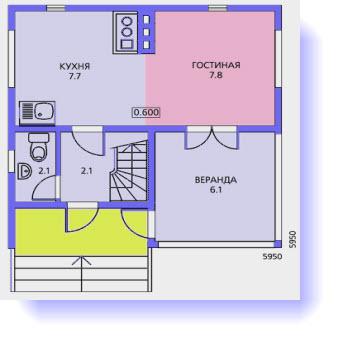 планировка дома 6x6