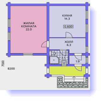 план дома 7x7 метров