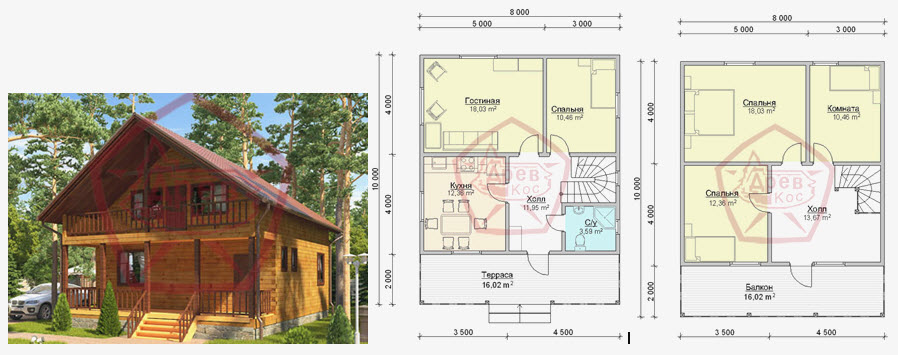 оригинальный план дома 8х10