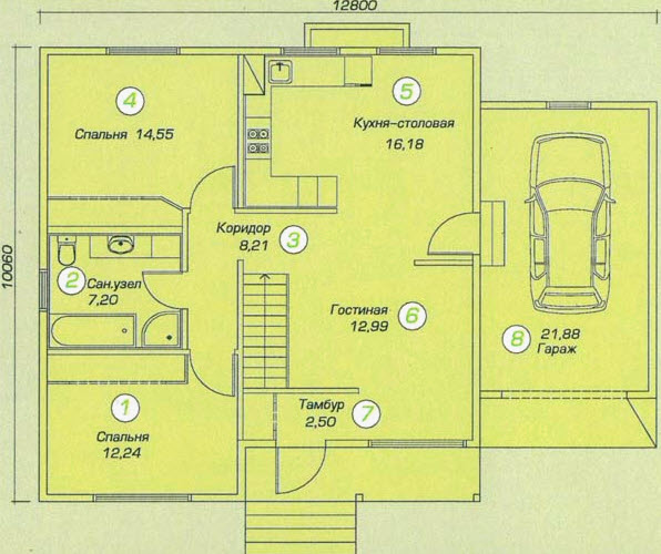 планировка дома c гаражом